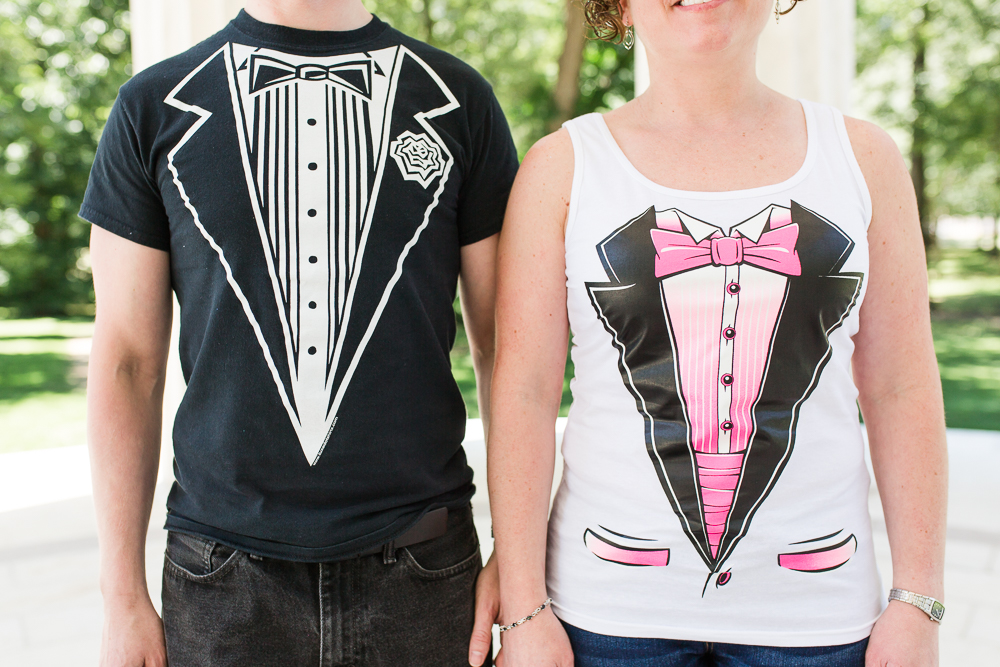 Bride and groom tuxedo t-shirts for wedding attire