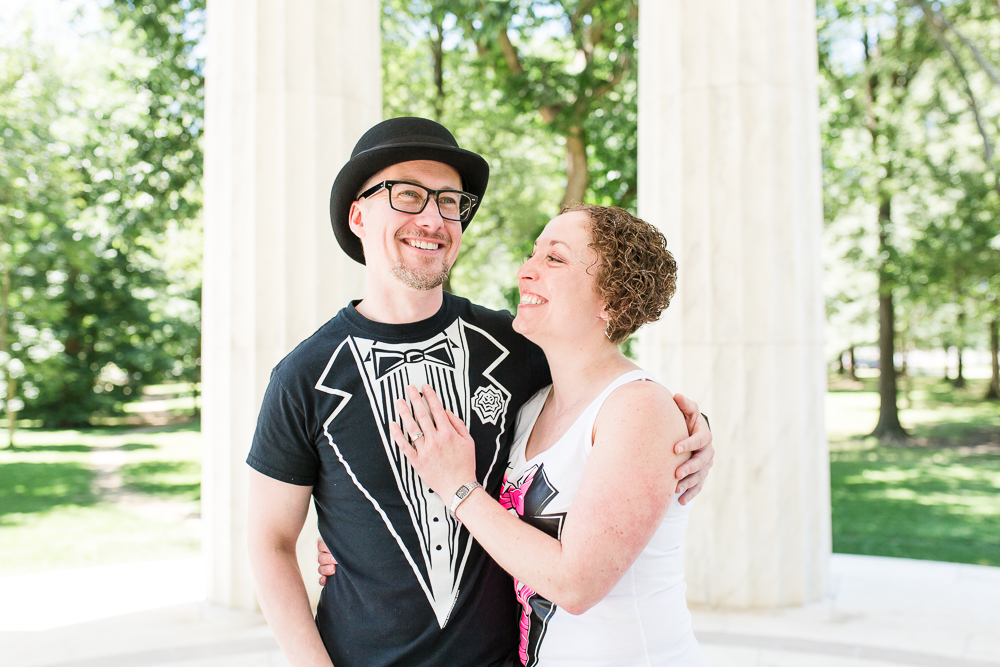 Alternative wedding at the DC War Memorial with tuxedo t-shirts