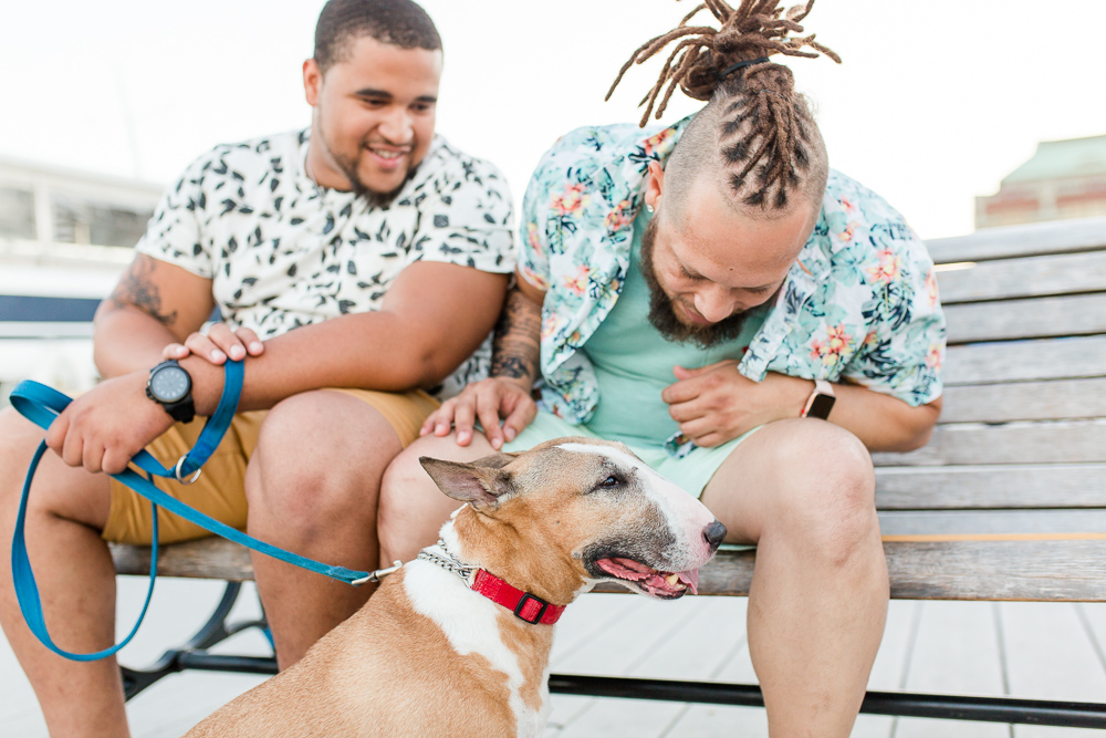 DC dog dads with their pup in Alexandria, VA | DC gay wedding photographer