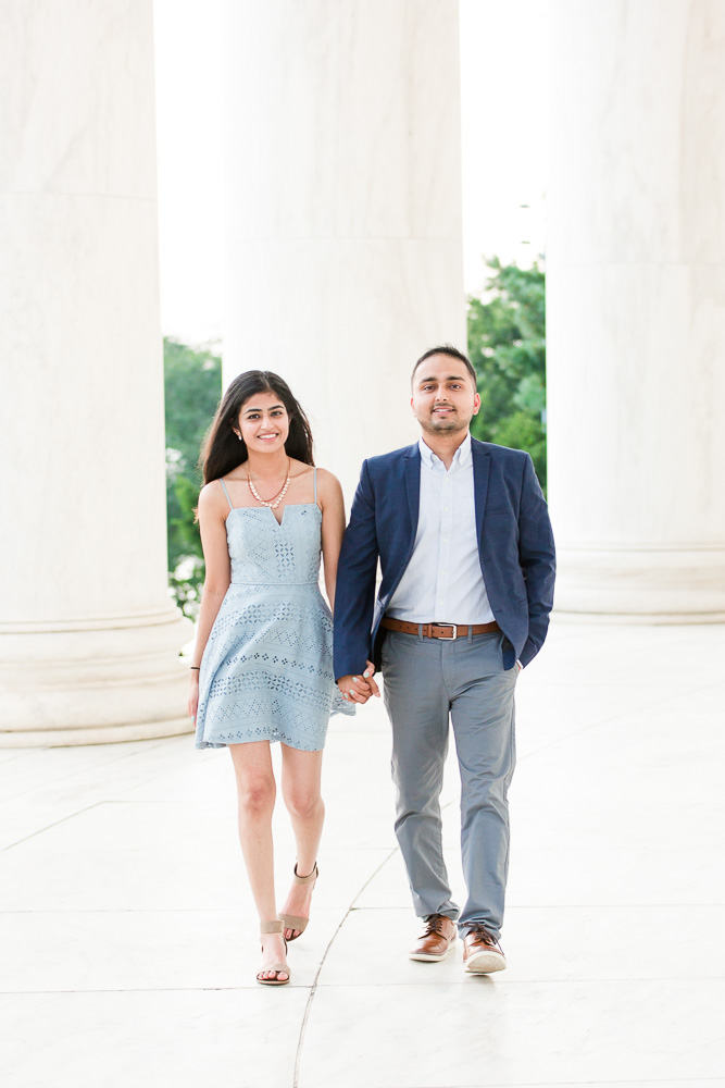 Happy couple after their proposal at the Thomas Jefferson Memorial in DC