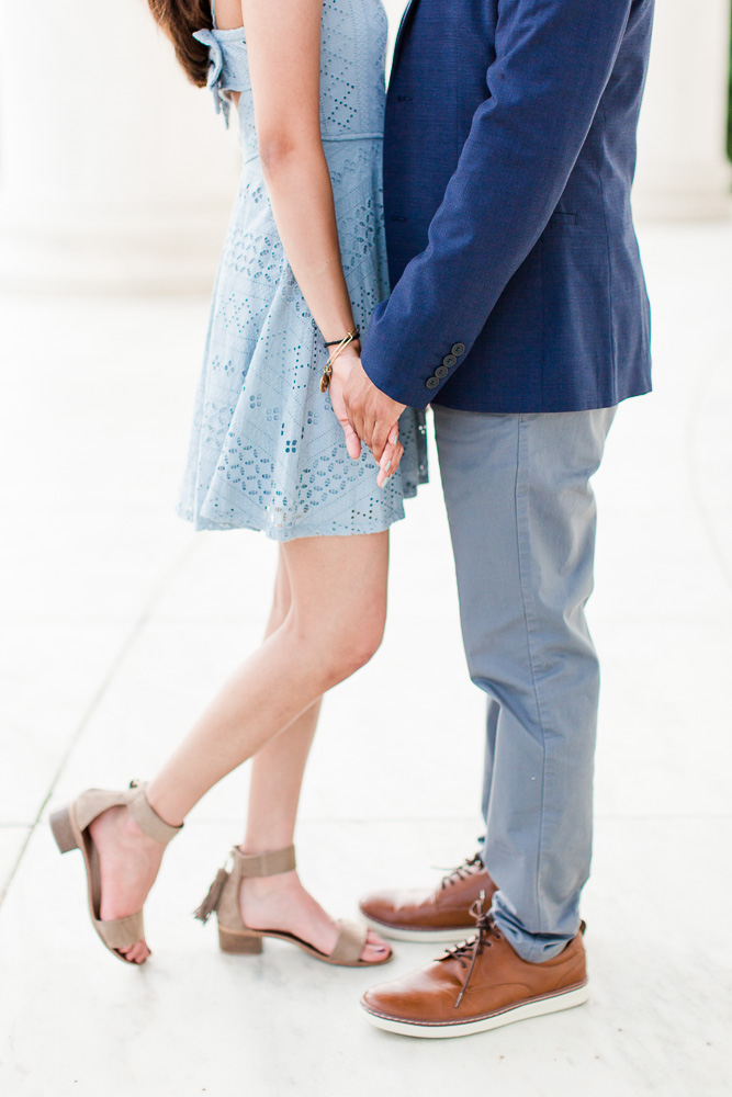 Close up shot of engaged couples legs during their engagement session
