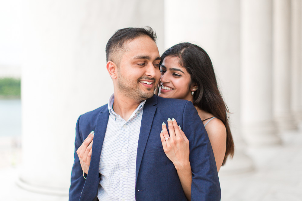 Giving her new fiance a hug after the marriage proposal | Proposal Photography at the Jefferson Memorial