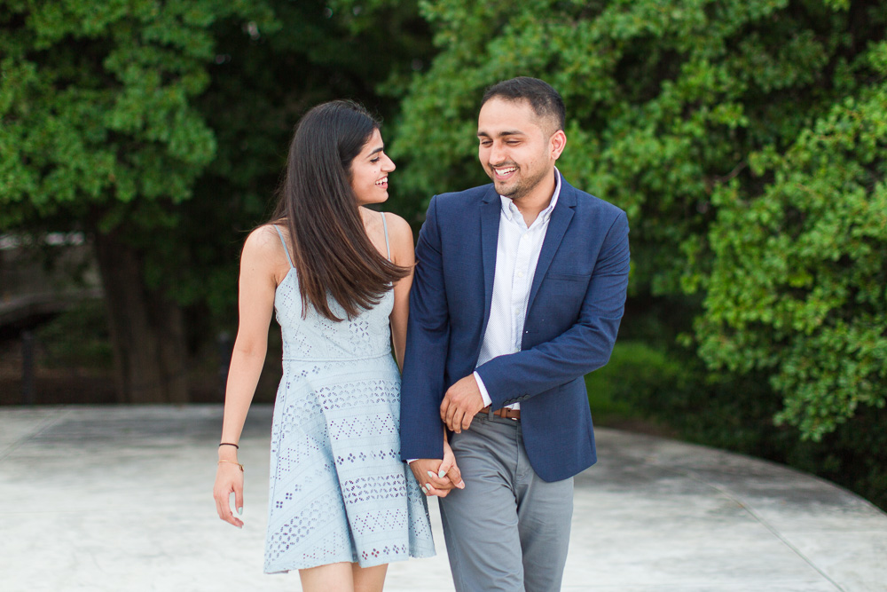 Fun and candid engagement pictures in Washington DC by the Thomas Jefferson Memorial