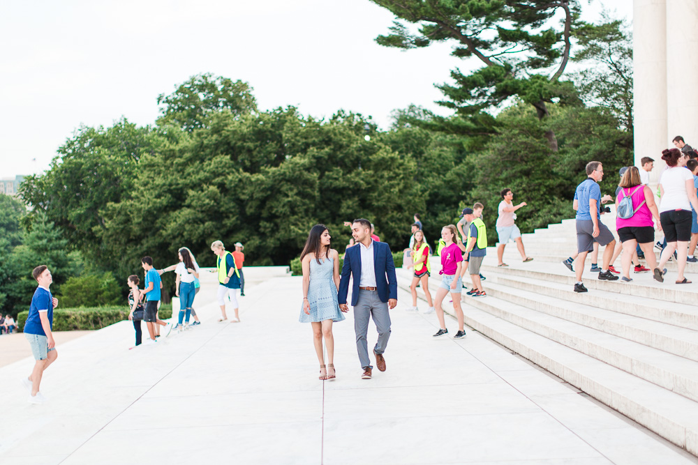 Walking through the crowds of tourists on the steps of the Thomas Jefferson Memorial | DC engagement picture locations