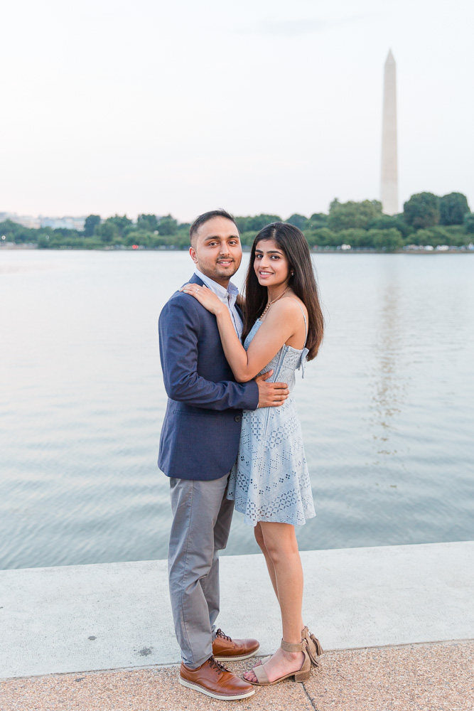 Engagement picture in front of the Tidal Basin and Washington Monument