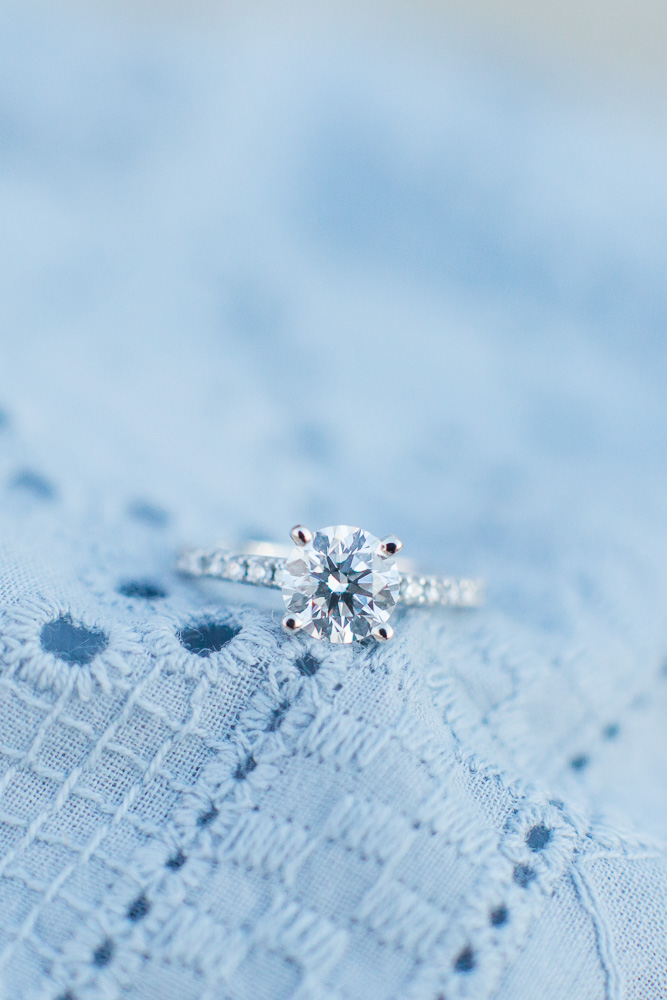 Engagement ring with blue dress | Proposal Photographer in Washington, DC
