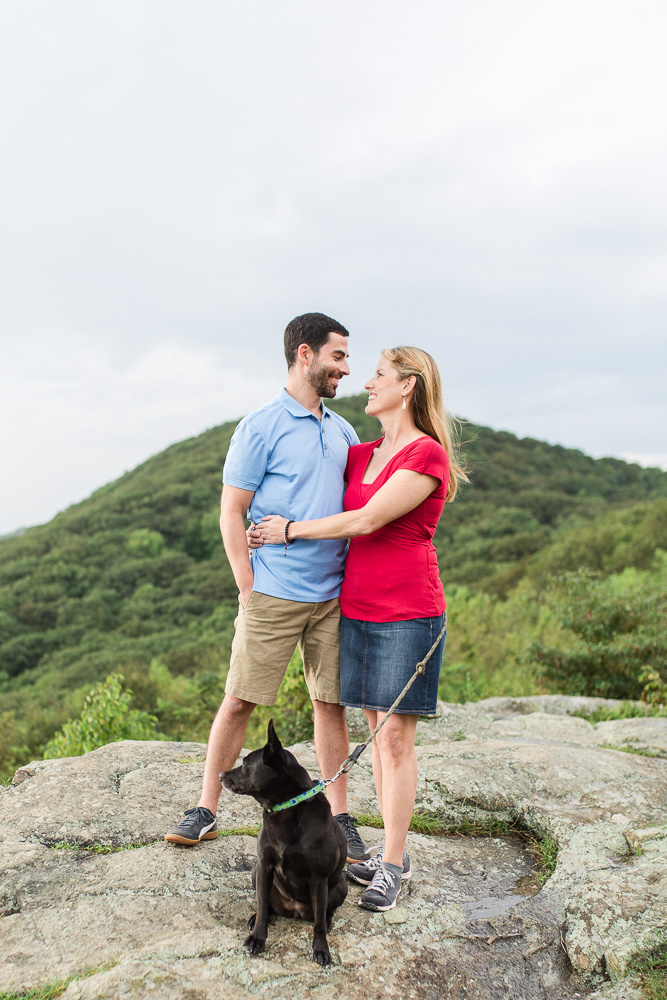 Engagement pictures with dog at overlook in Shenandoah National Park
