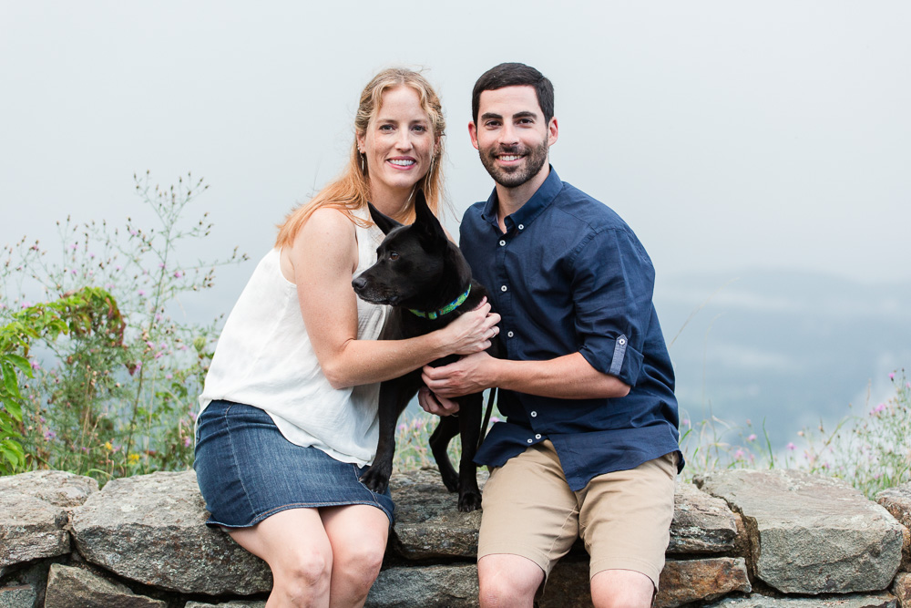Dog lovers engagement at Skyline Drive overlook | Megan Rei Photography