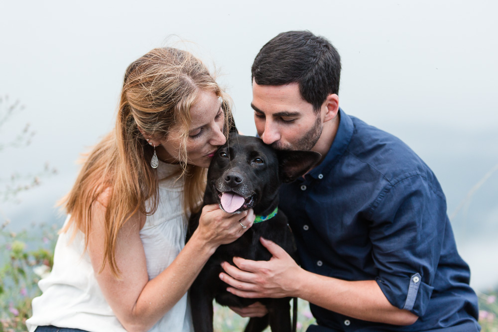 Engagement pictures with dog in the misty Blue Ridge Mountains