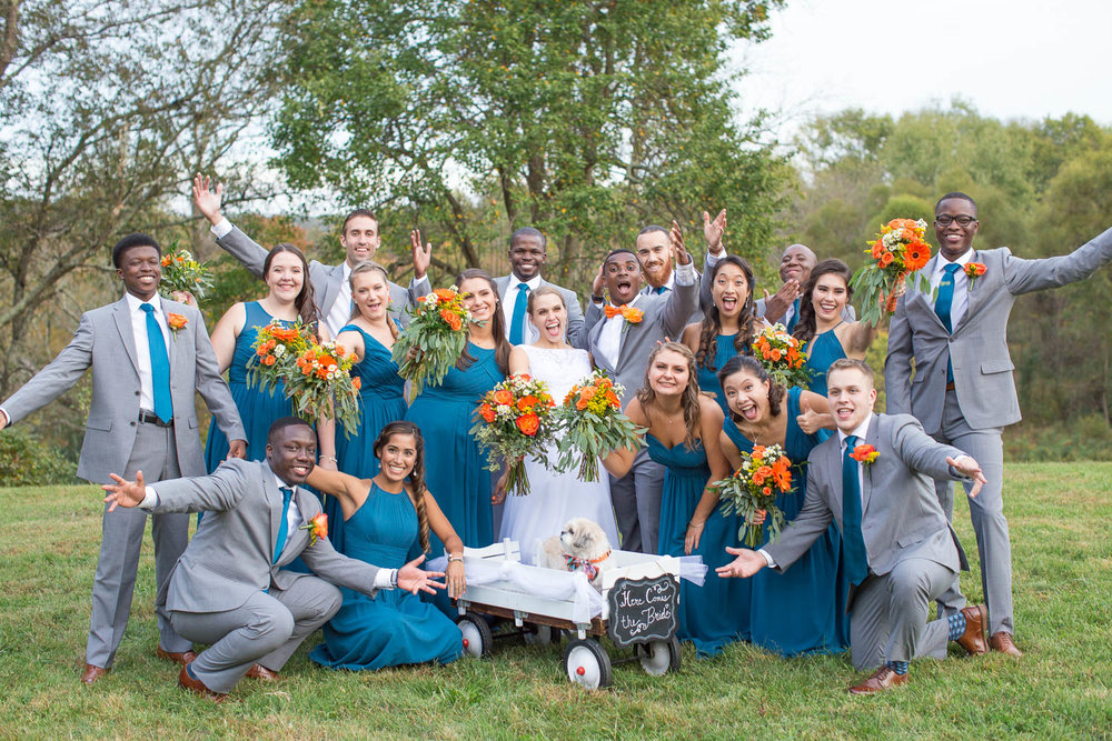 Teal and orange wedding party