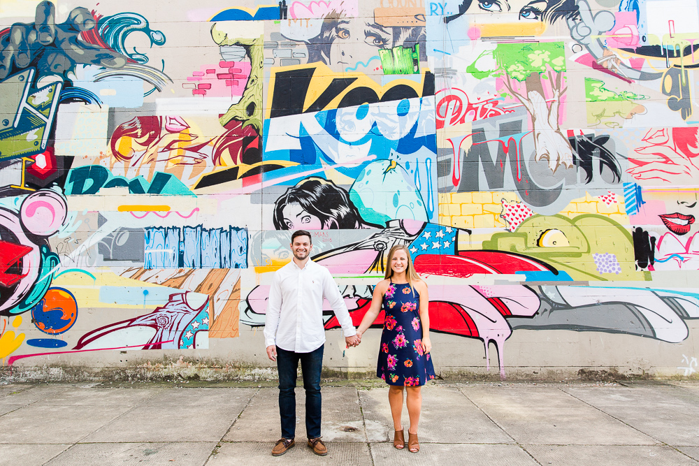 Colorful engagement photos by the murals on the Richmond Canal Walk | Colorful Richmond Wedding Photographer