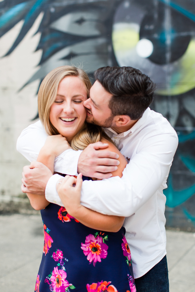 A kiss on the cheek during a Richmond, Virginia engagement session