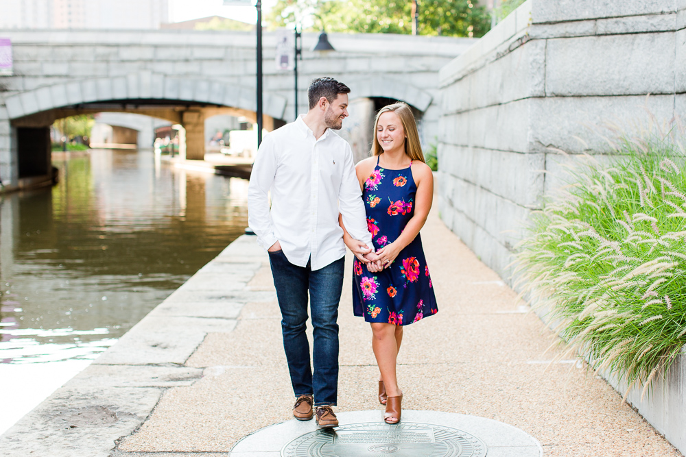 Engagement photos walking along the canal in Richmond, VA