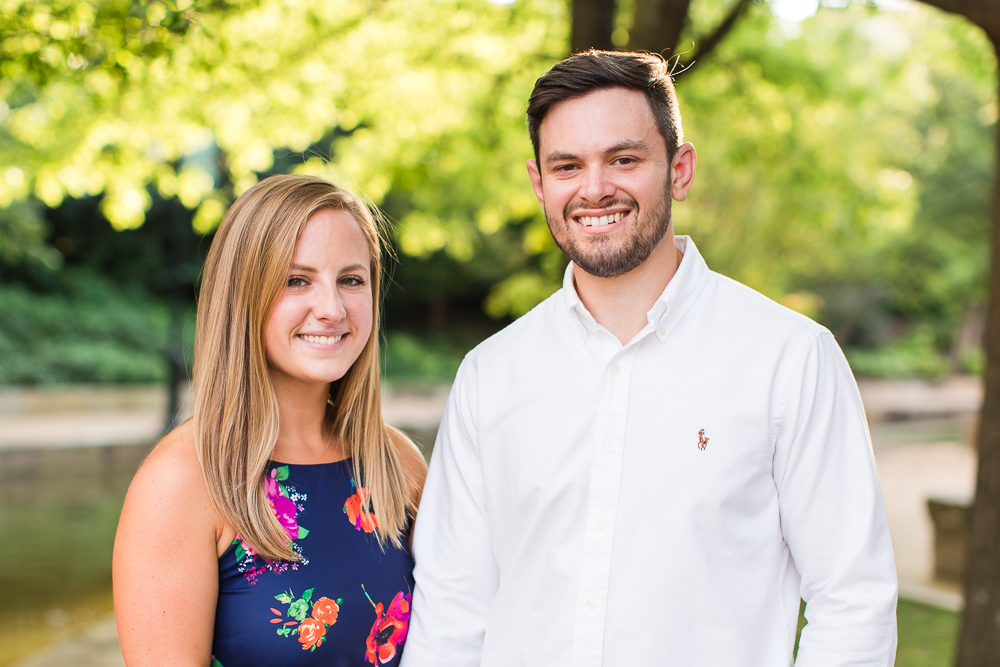 Smiling couple during golden hour engagement session in Richmond, VA | RVA Engagement Photography