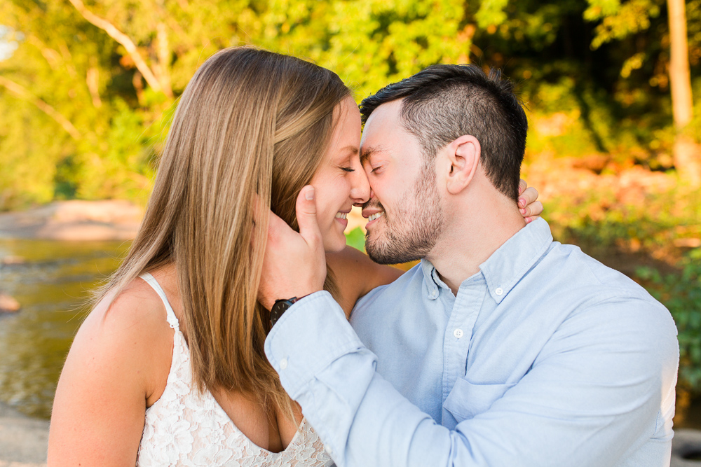 Engagement kiss on the James River