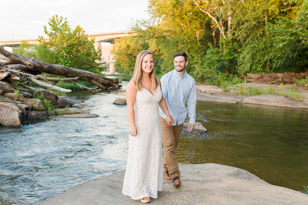 Candid engagement session on the James River