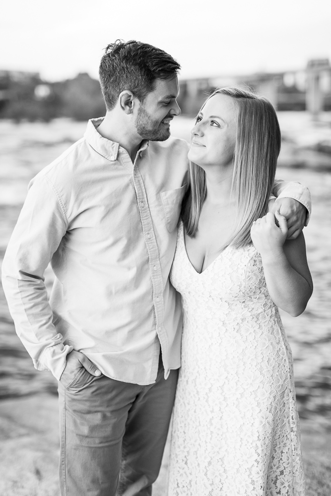 Black and white engagement picture at Belle Isle