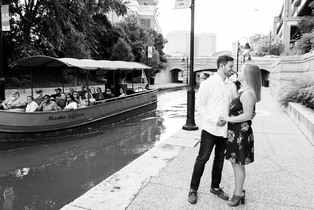 Richmond canal cruise boat engagement session