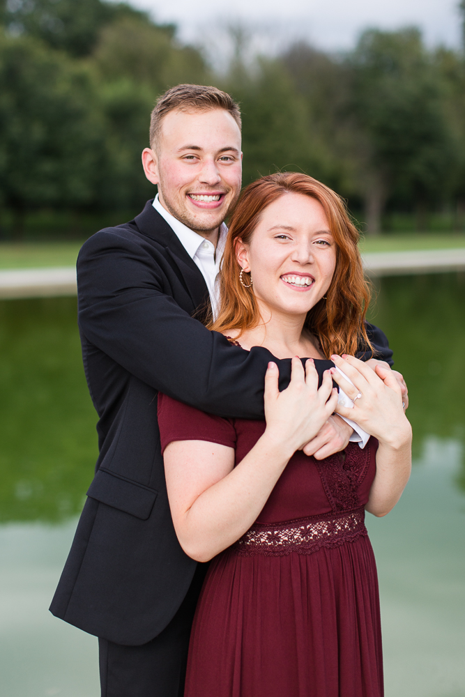 Big smiles during engagement session at the monuments in Washington DC