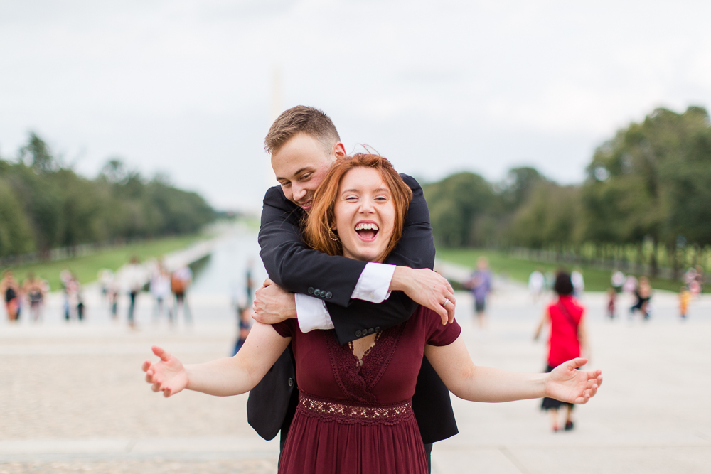 Fun engagement photos in Washington, DC by the Reflecting Pool