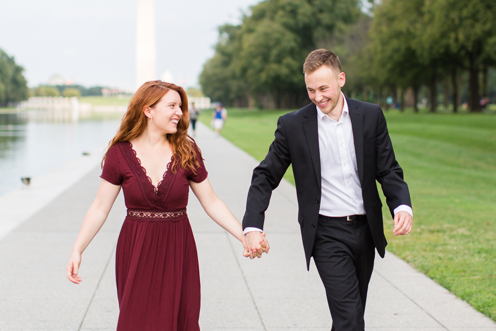 Candid engagement photographer Washington DC | DC monuments engagement