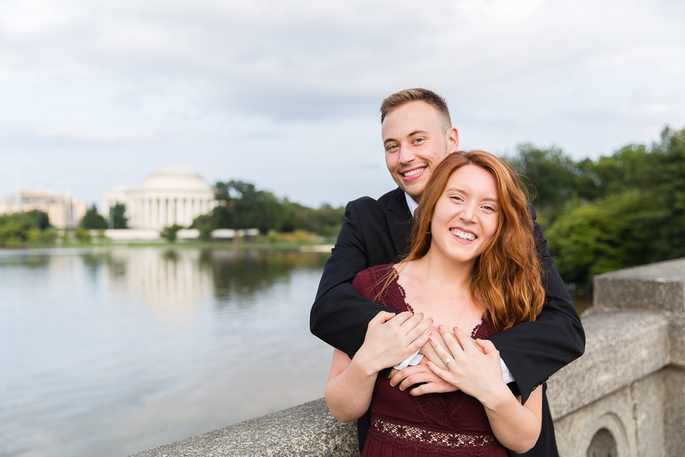 Engagement photos at the monuments | Tidal Basin and Jefferson Memorial