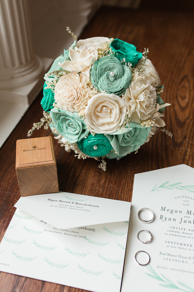 Wood sola flower bouquet and wedding invitations