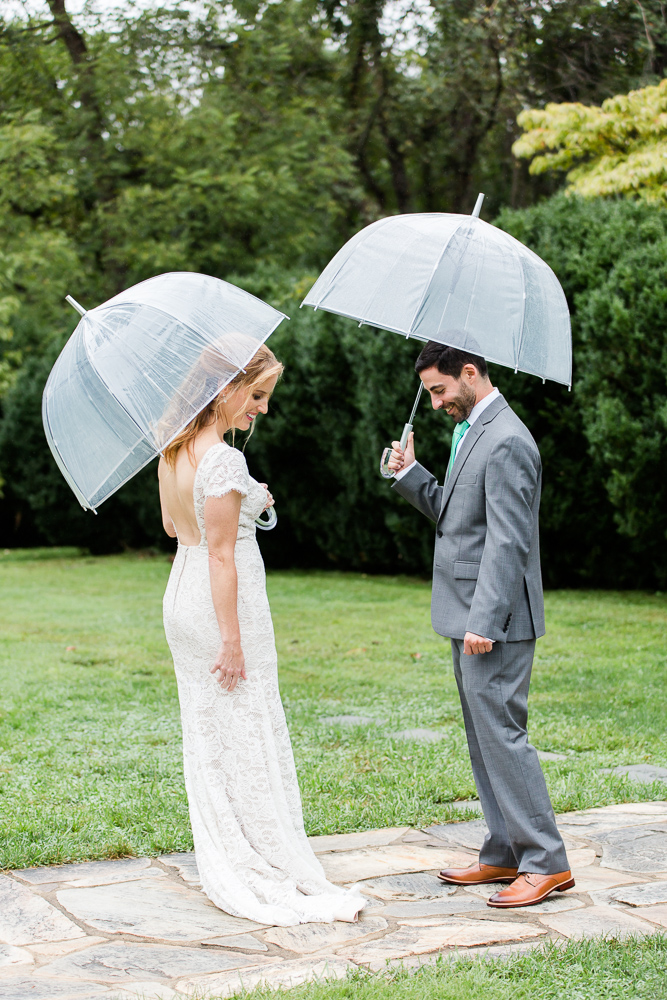 Rainy wedding day First Look at Rust Manor House