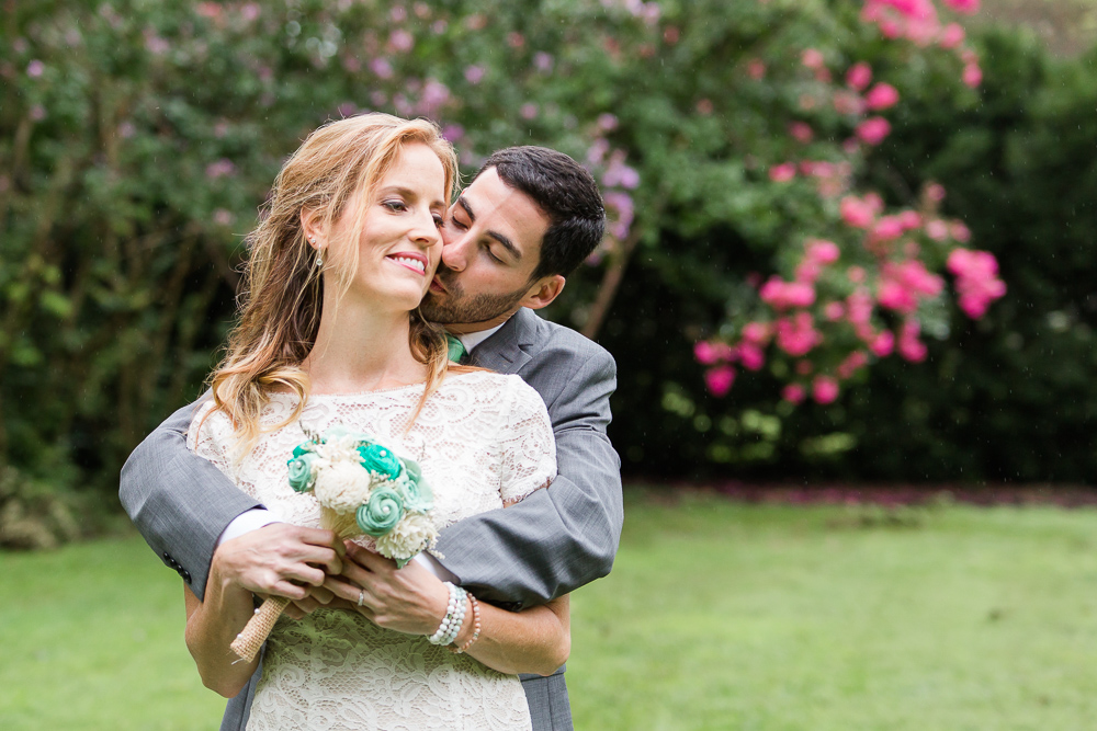 Groom giving bride a kiss | Leesburg wedding photography