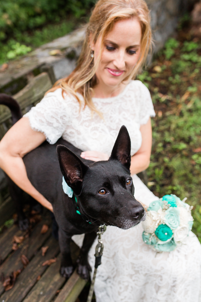 Bride and her dog | Wedding dog photography