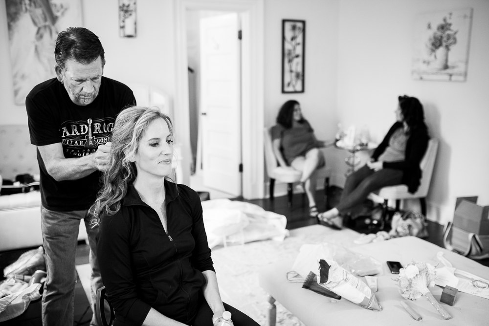 Hair and makeup being done in the bridal suite at Rust Manor House