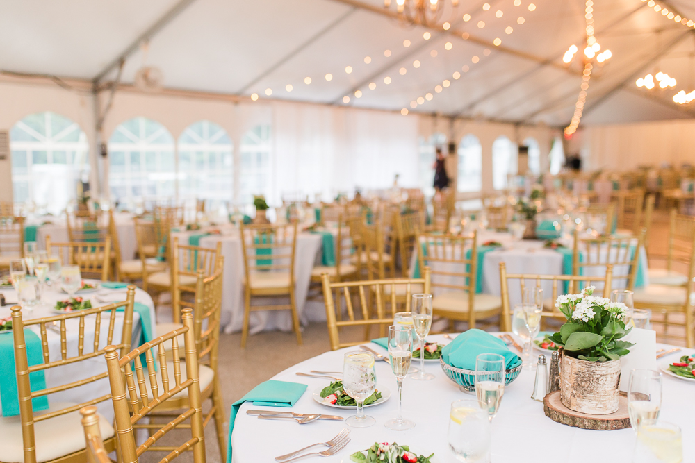 Reception tent at Rust Manor House decorated for eco-friendly wedding