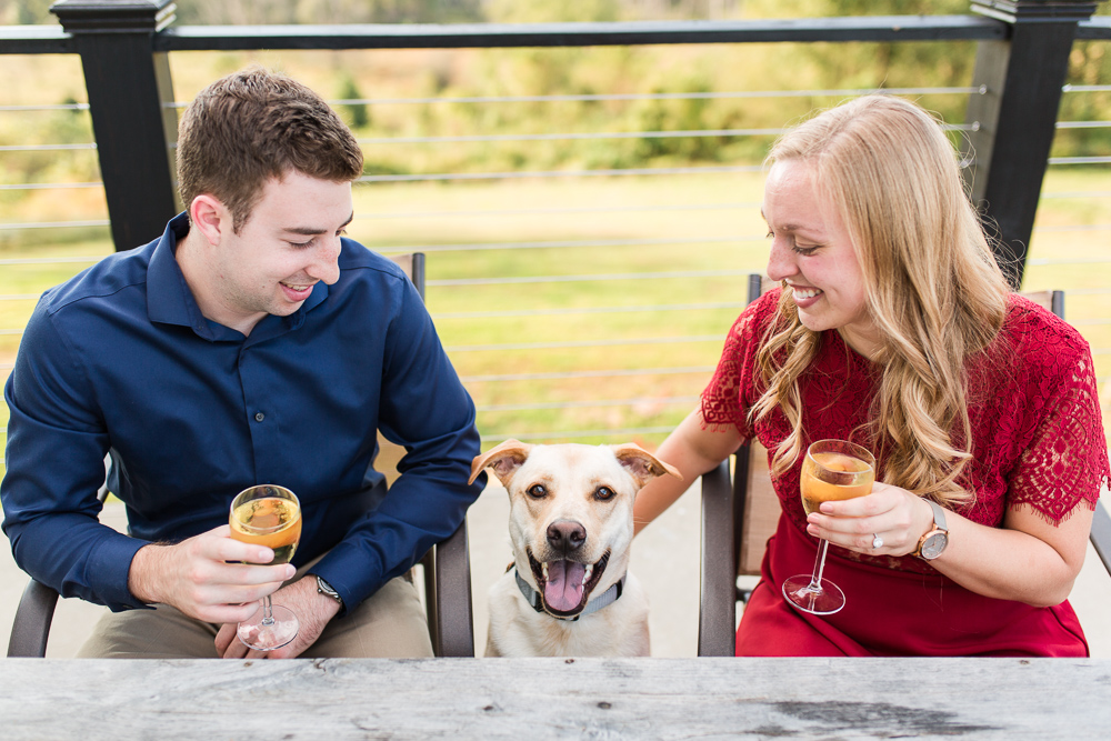 Blue Valley Vineyard engagement photos with dog