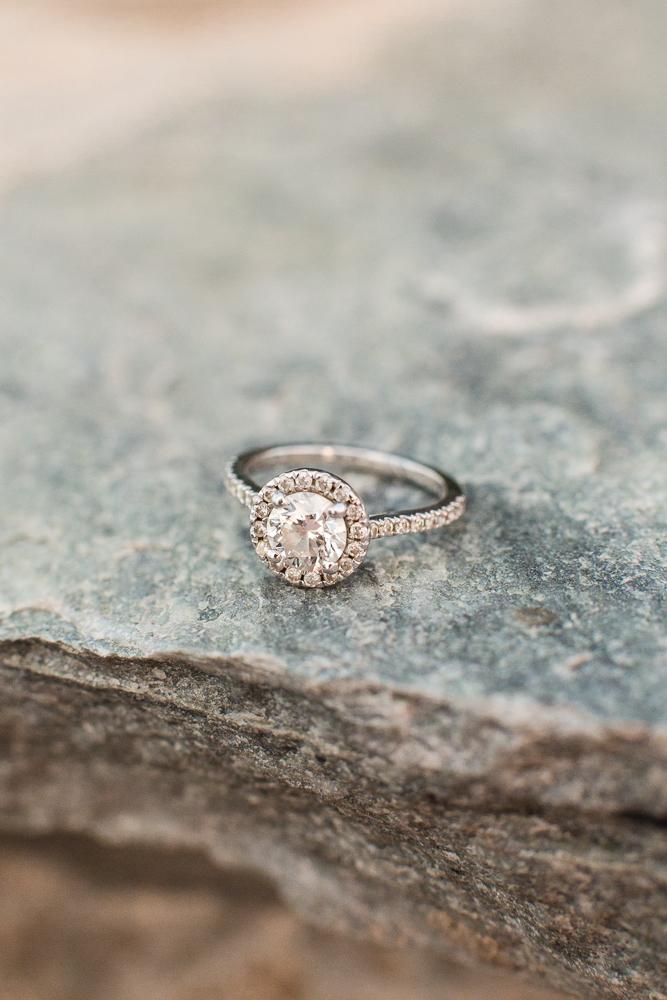 Halo engagement ring at Blue Valley Vineyard