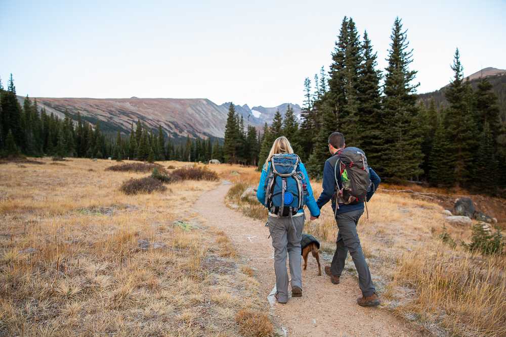 Backpacking engagement session for adventure lovers   Brainard Lake Recreation Area hike