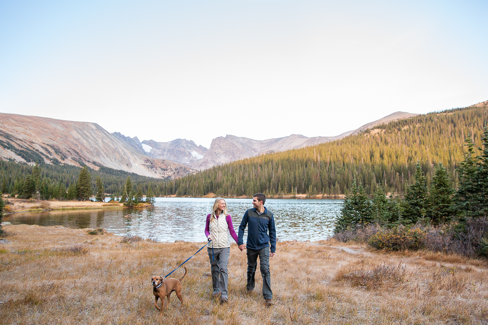 Engagement pictures with their dog at Long Lake
