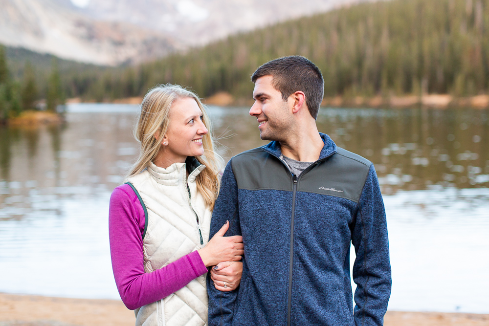 Hiking engagement pictures in the Colorado mountains