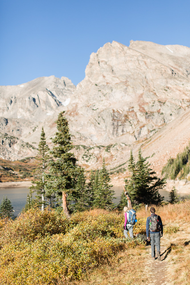 Adventure engagement photos in the mountains by Lake Isabelle, Colorado   Pawnee Pass Trail