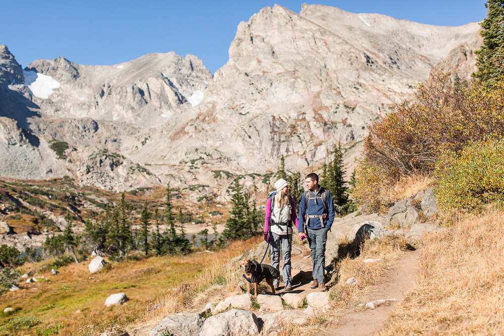 Backpacking on the Pawnee Pass Trail in the Indian Peaks WIlderness   Colorado adventure engagement session ideas