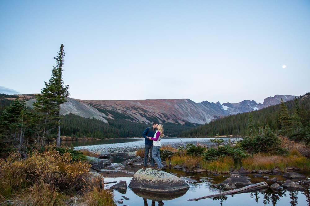 Long Lake Colorado sunrise engagement photos   Megan Rei Photography