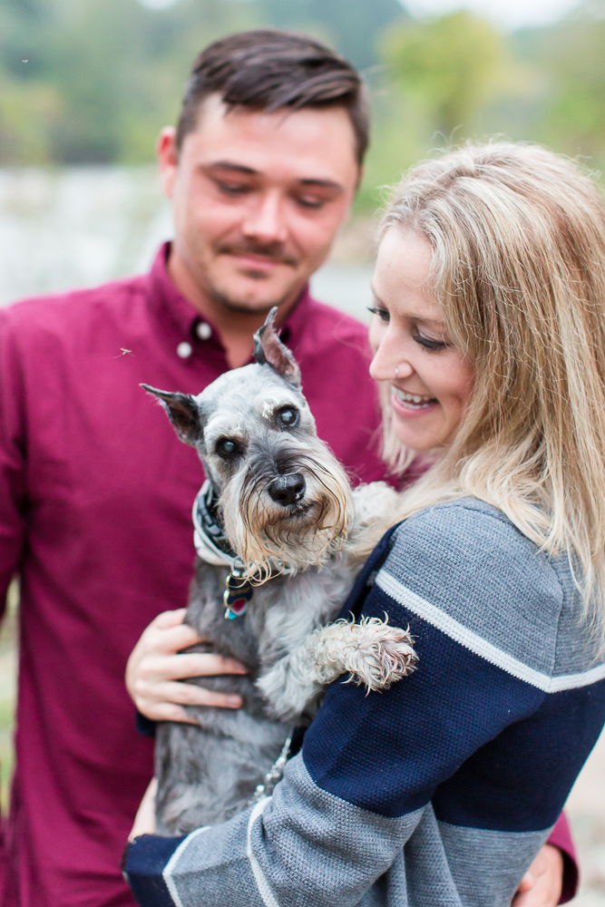 Candid engagement photos with dog in Northern Virginia