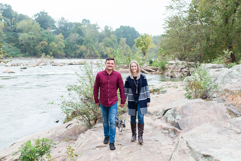 Adventure engagement session in Fredericksburg Virginia by the Rappahannock River