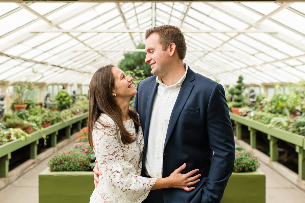 Engagement picture in one of the greenhouses during a botanical gardens engagement shoot in Buffalo, NY