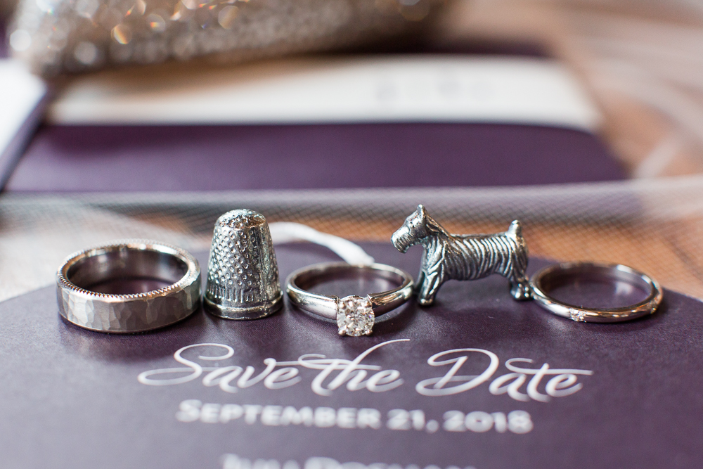 Wedding rings and Monopoly pieces