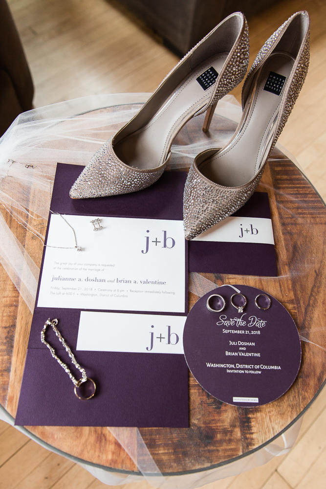 Wedding day details at the Loft at 600 F