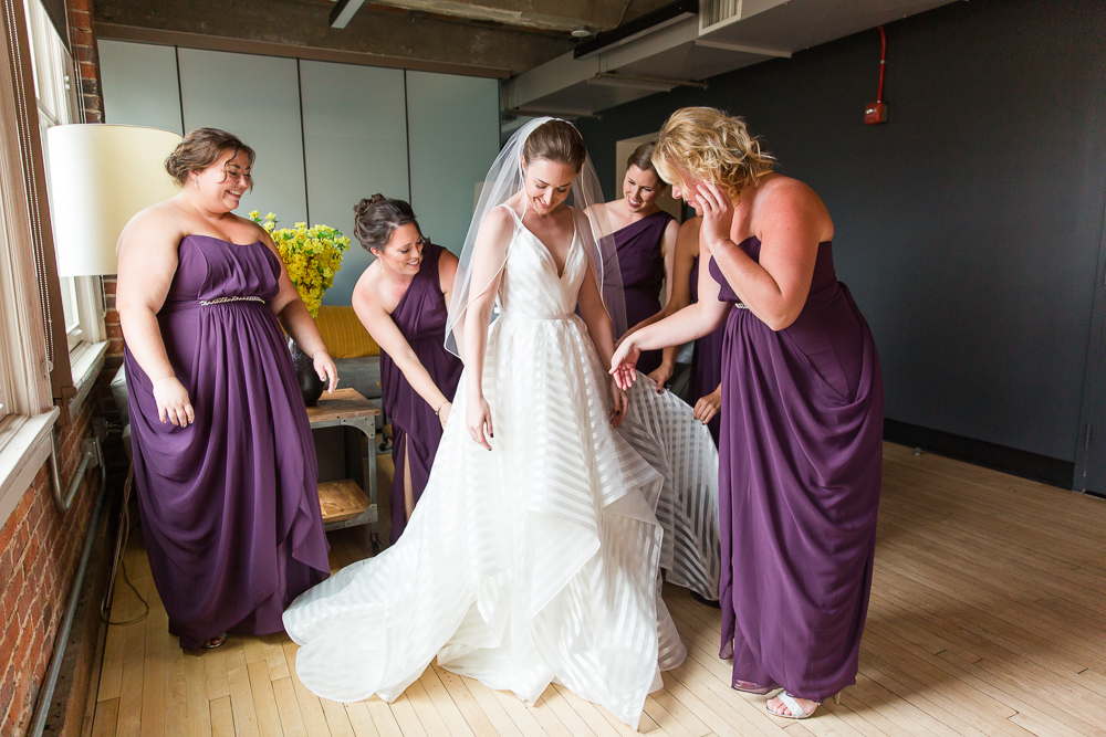 Bride and her bridesmaids getting ready for the wedding day at the Loft at 600 F