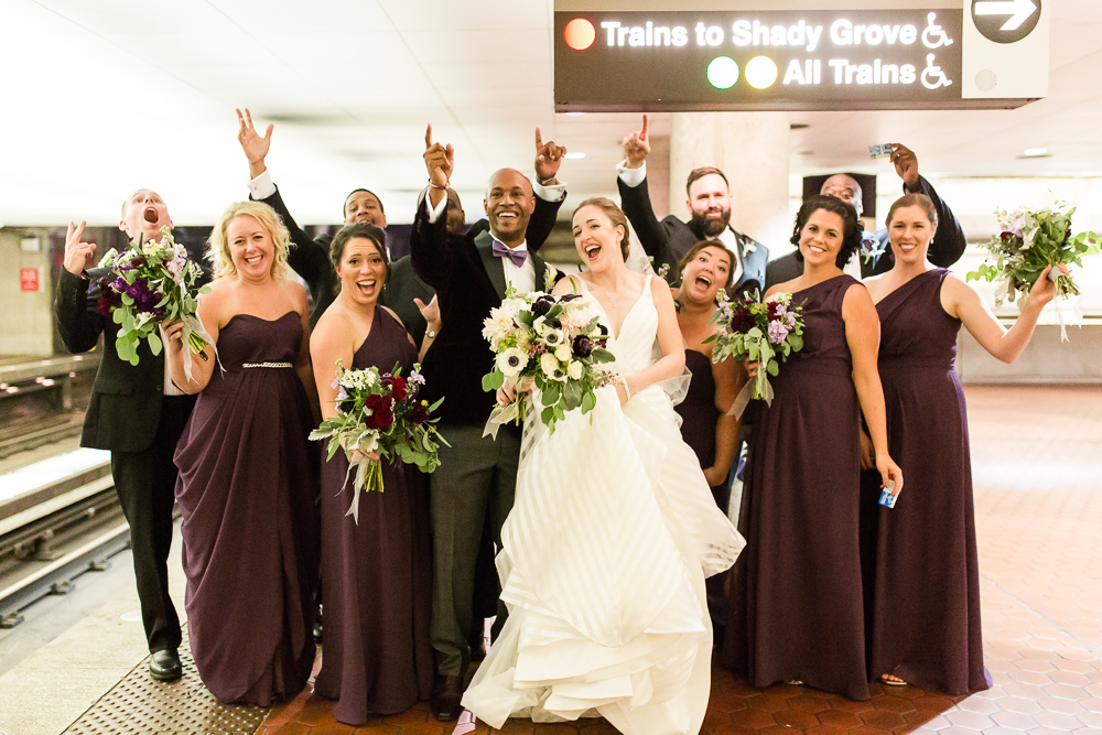 Fun wedding party photo while waiting for the Metro in Washington, DC | Washington, DC Wedding Photographer