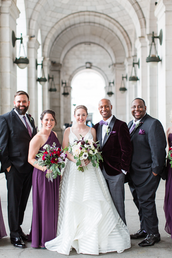 Wedding pictures outside of Union Station in Washington, DC