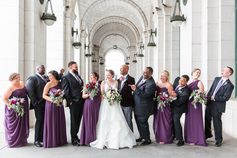 Fun wedding party in purple and black at Union Station in Washington, DC | Union Station wedding photography