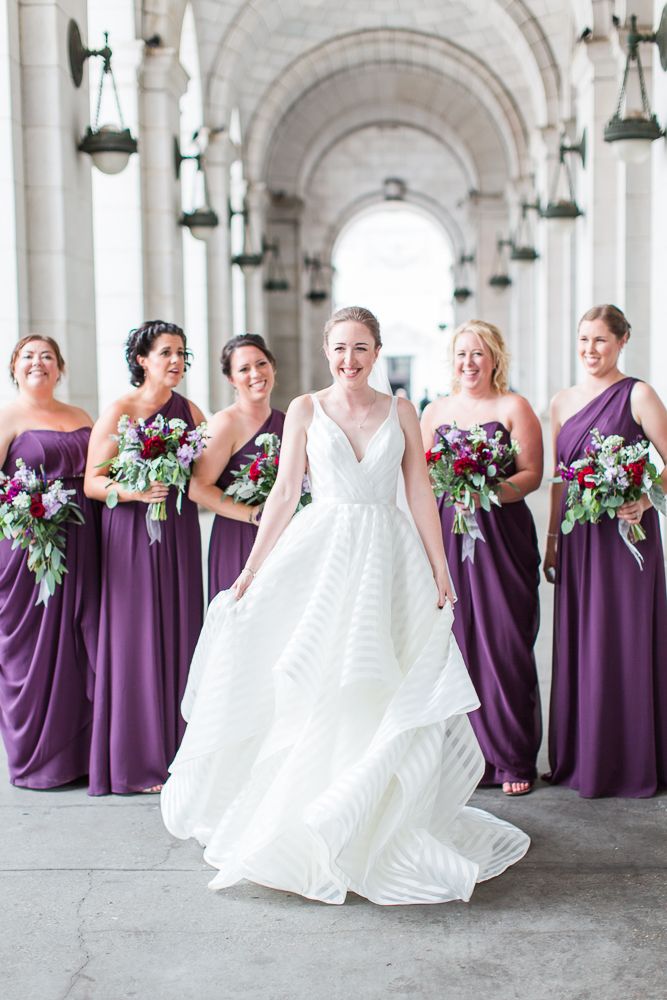 Bride twirling her dress outside of DC's Union Station | Wedding pictures at Union Station